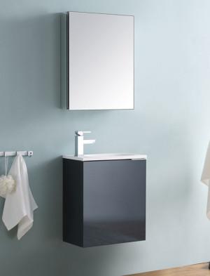 Fresca Valencia (single) 19.7-Inch Glossy Gray Modern Wall-Mount Bathroom Vanity Set