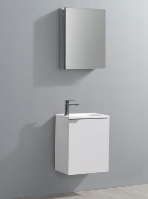 Fresca Valencia (single) 19.7-Inch Glossy White Modern Wall-Mount Bathroom Vanity Set