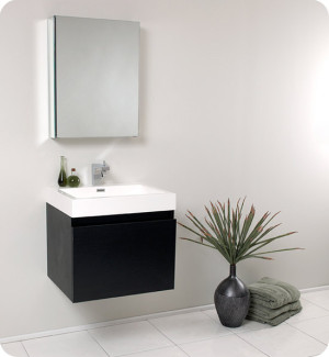 Fresca Nano (single) 23.4-Inch Black Modern Wall-Mount Bathroom Vanity Set