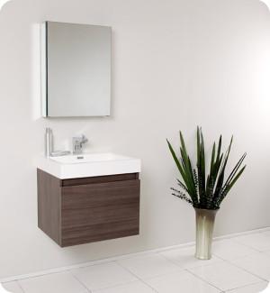 Fresca Nano (single) 23.4-Inch Gray Oak Modern Wall-Mount Bathroom Vanity Set