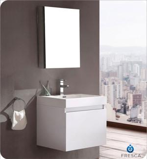 Fresca Nano (single) 23.4-Inch White Modern Wall-Mount Bathroom Vanity Set