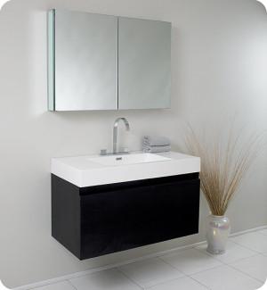Fresca Mezzo (single) 39-Inch Black Modern Wall-Mount Bathroom Vanity Set