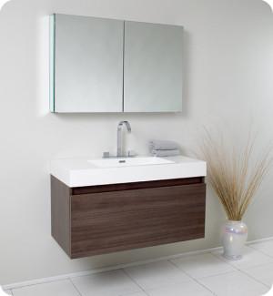 Fresca Mezzo (single) 39-Inch Gray Oak Modern Wall-Mount Bathroom Vanity Set