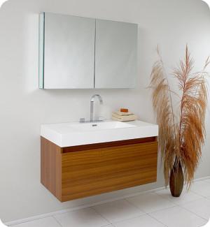 Fresca Mezzo (single) 39-Inch Teak Modern Wall-Mount Bathroom Vanity Set