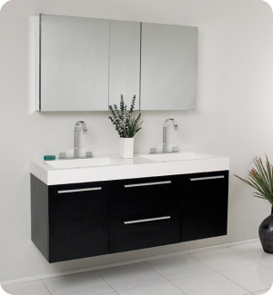 Fresca Opulento (double) 54-Inch Black Modern Wall-Mount Bathroom Vanity Set
