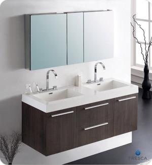 Fresca Opulento (double) 54-Inch Gray Oak Modern Wall-Mount Bathroom Vanity Set