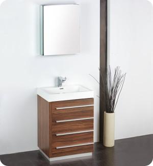 Fresca Livello (single) 23.4-Inch Walnut Modern Bathroom Vanity Set