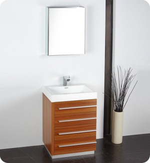 Fresca Livello (single) 23.4-Inch Teak Modern Bathroom Vanity Set
