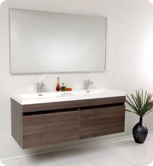 Fresca Largo (double) 56.6-Inch Gray Oak Modern Wall-Mount Bathroom Vanity Set