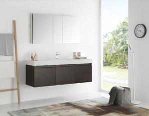 Fresca Mezzo (single) 59-Inch Gray Oak Modern Wall-Mount Bathroom Vanity Set