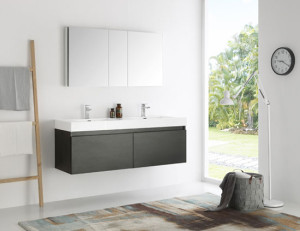 Fresca Mezzo (double) 59-Inch Black Modern Wall-Mount Bathroom Vanity Set