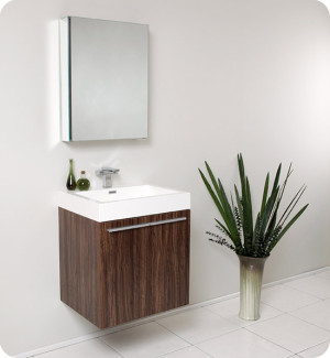 Fresca Alto (single) 22.5-Inch Walnut Modern Wall-Mount Bathroom Vanity Set