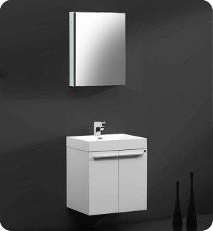 Fresca Alto (single) 22.5-Inch White Modern Wall-Mount Bathroom Vanity Set