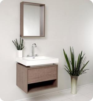 Fresca Potenza (single) 27.4-Inch Gray Oak Modern Wall-Mount Bathroom Vanity Set