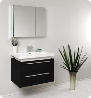 Fresca Medio (single) 31.4-Inch Black Modern Wall-Mount Bathroom Vanity Set