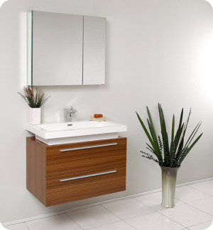 Fresca Medio (single) 31.4-Inch Teak Modern Wall-Mount Bathroom Vanity Set