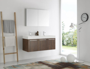 Fresca Vista (double) 47.3-Inch Walnut Modern Wall-Mount Bathroom Vanity Set