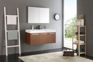Fresca Vista (double) 47.3-Inch Teak Modern Wall-Mount Bathroom Vanity Set