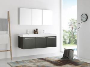 Fresca Vista (double) 59-Inch Black Modern Wall-Mount Bathroom Vanity Set