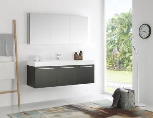 Fresca Vista (single) 59-Inch Black Modern Wall-Mount Bathroom Vanity Set