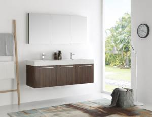 Fresca Vista (double) 59-Inch Walnut Modern Wall-Mount Bathroom Vanity Set