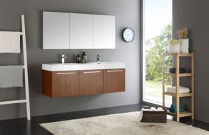 Fresca Vista (double) 59-Inch Teak Modern Wall-Mount Bathroom Vanity Set