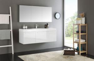 Fresca Vista (single) 59-Inch White Modern Wall-Mount Bathroom Vanity Set