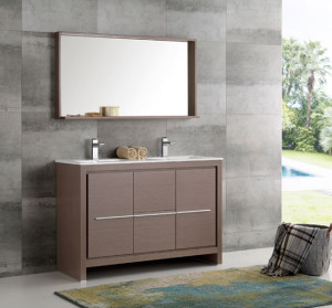 Fresca Allier (double) 47.38-Inch Gray Oak Modern Bathroom Vanity Set