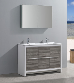 Fresca Allier Rio (double) 47.38-Inch Ash Gray Modern Bathroom Vanity Set