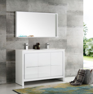 Fresca Allier (double) 47.38-Inch White Modern Bathroom Vanity Set