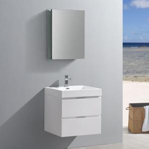 Fresca Valencia (single) 24-Inch Glossy White Modern Wall-Mount Bathroom Vanity Set