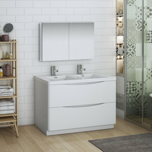 Fresca Tuscany (double) 47.3-Inch Glossy White Modern Bathroom Vanity Set