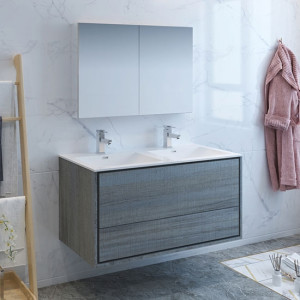 Fresca Catania (double) 47.3-Inch Ocean Gray Modern Wall-Mount Bathroom Vanity Set