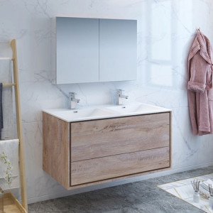 Fresca Catania (double) 47.3-Inch Rustic Natural Wood Modern Wall-Mount Bathroom Vanity Set