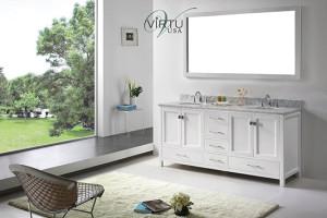 Virtu USA Caroline Avenue (double) 72.8-Inch White Transitional Bathroom Vanity Set with Top Options