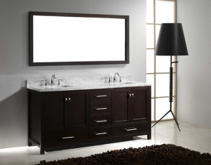 Virtu USA Caroline Avenue (double) 72.8-Inch Espresso Transitional Bathroom Vanity Set with Top Options
