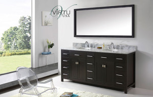 Virtu USA Caroline Parkway (double) 72-Inch Espresso Contemporary Bathroom Vanity with Mirror