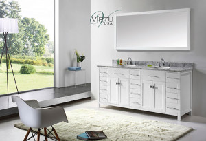 Virtu USA Caroline Parkway (double) 72-Inch White Contemporary Bathroom Vanity with Mirror