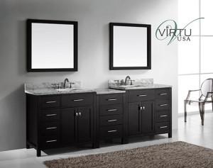 Virtu USA Caroline Parkway (double) 92.8-Inch Espresso Contemporary Bathroom Vanity with Mirror
