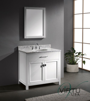 Virtu USA Caroline (single) 36.8-Inch White Transitional Bathroom Vanity Set