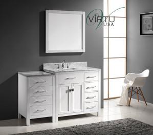 Virtu USA Caroline Parkway (single) 56.4-Inch Right Side White Transitional Bathroom Vanity with Mirror