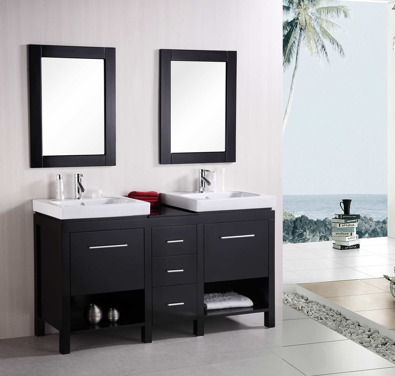 Design Element New York (double) 60.6-Inch Modern Bathroom Vanity ...